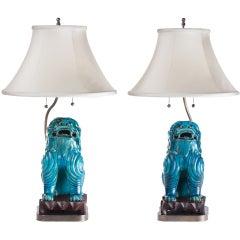 Turquoise Ceramic Asian Foo Dog Lamps, circa 1940