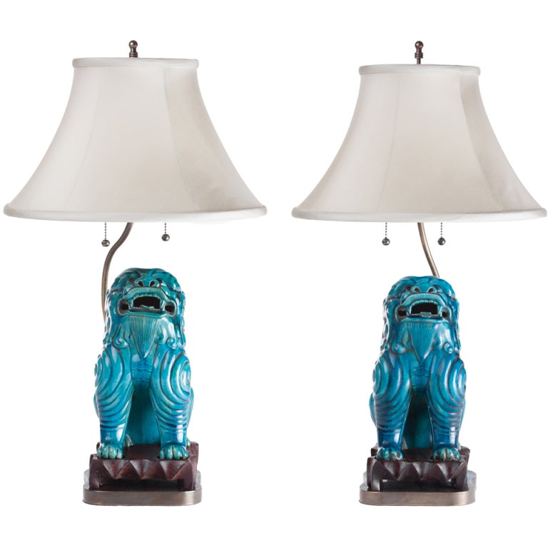 Turquoise Ceramic Asian Foo Dog Lamps, circa 1940