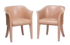 "Karl Springer Nude Leather ""Tulip"" Armchairs"