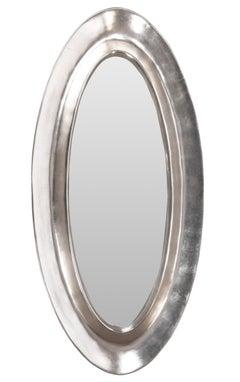 Monumental Aluminum Leaf Plaster Oval Mirror