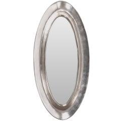 Aluminum Leaf Plaster Oval Mirror