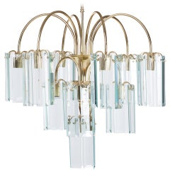 Waterfall Beveled Glass and Brass Chandelier