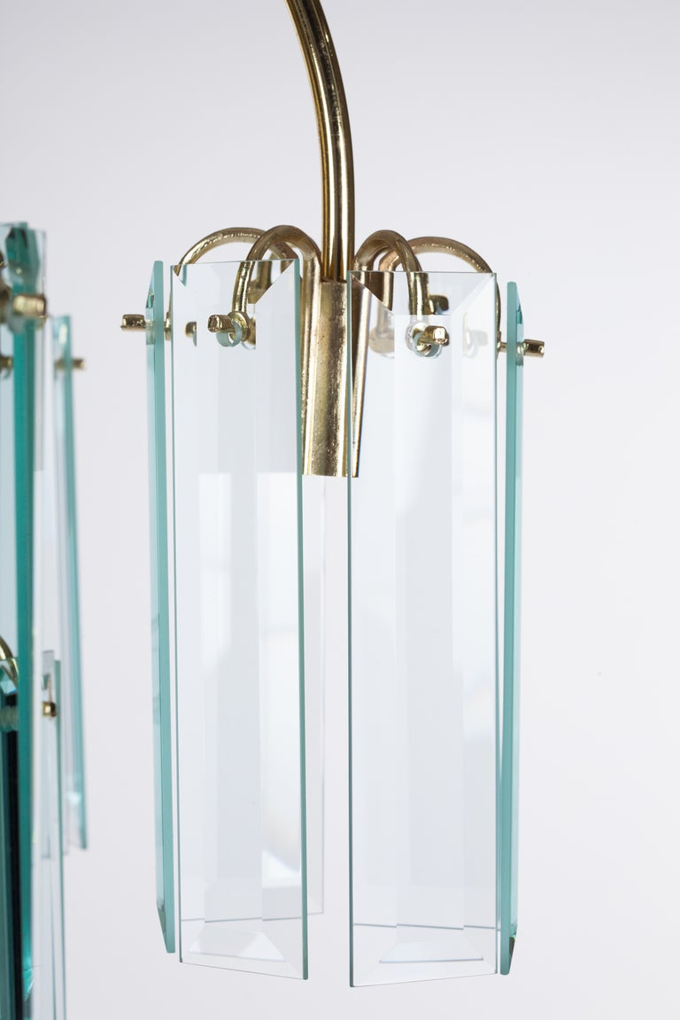 American Waterfall Beveled Glass and Brass Chandelier For Sale