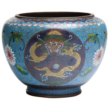 Chinese Cloisonne Dragon Bronze Urn