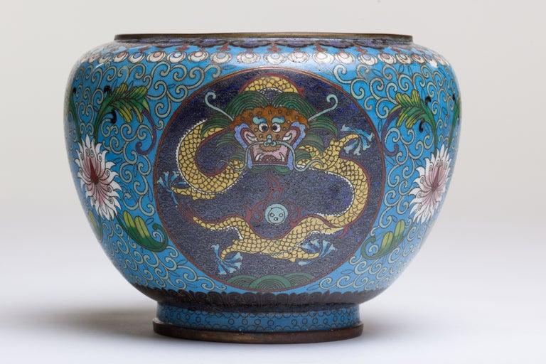 Chinese Cloisonne Dragon Bronze Urn 2