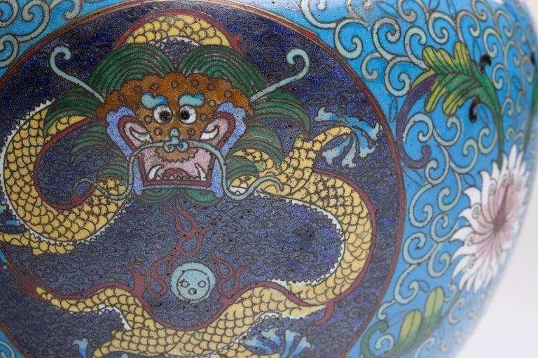 Cloissoné Chinese Cloisonne Dragon Bronze Urn For Sale