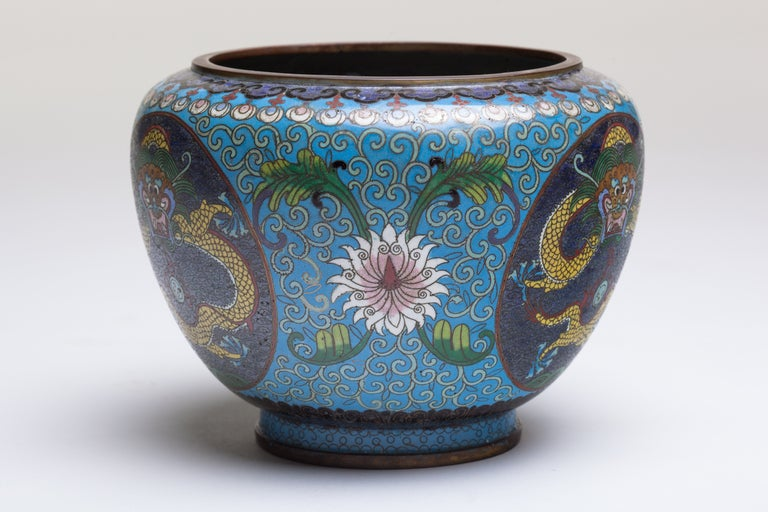 19th Century Chinese Cloisonne Dragon Bronze Urn For Sale