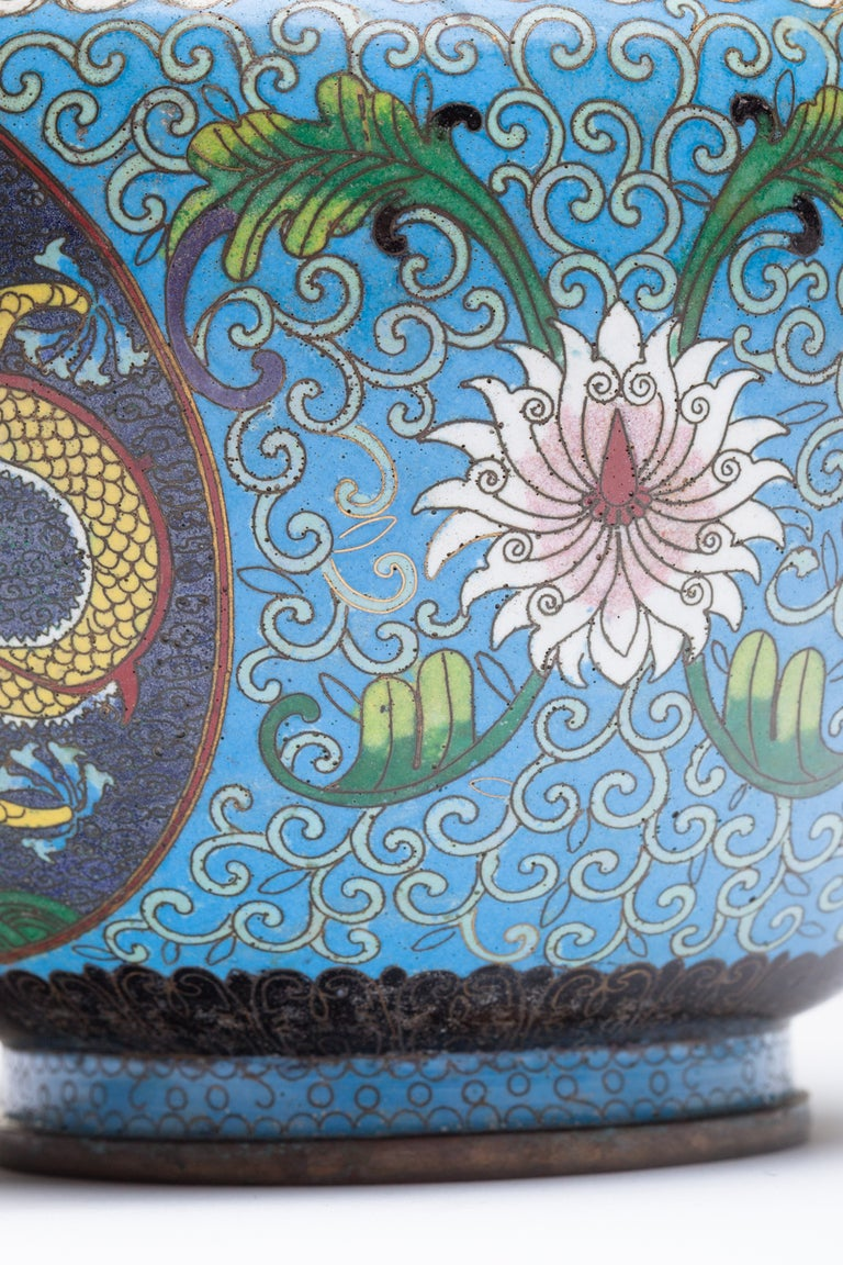 Chinese Cloisonne Dragon Bronze Urn For Sale 1