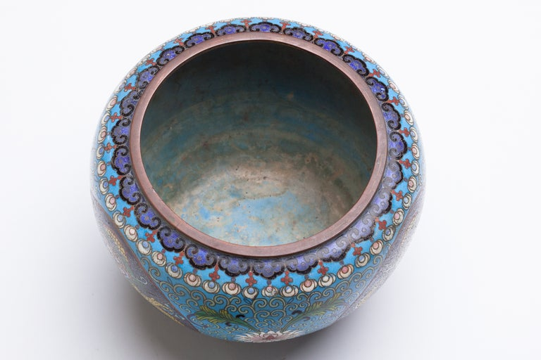 Chinese Cloisonne Dragon Bronze Urn For Sale 2