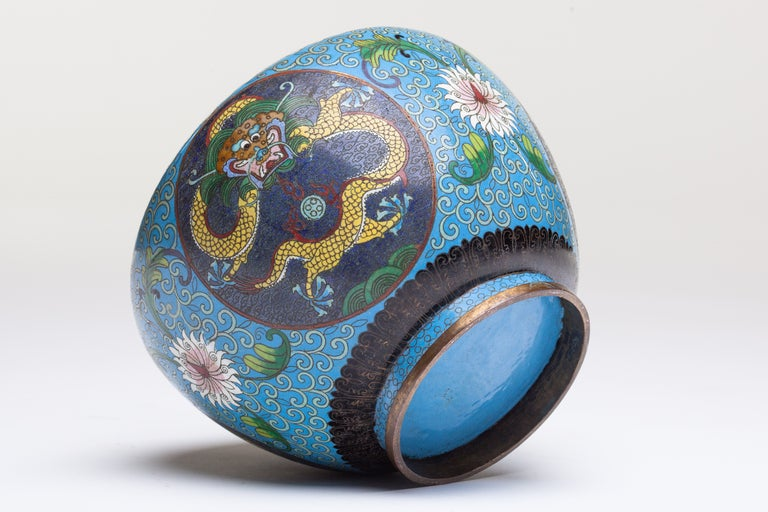 Chinese Cloisonne Dragon Bronze Urn For Sale 3