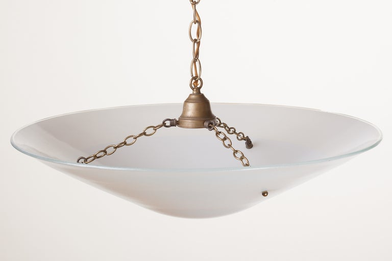 Large Art Deco milk glass dome shade chandelier with original solid brass fittings, circa 1930.