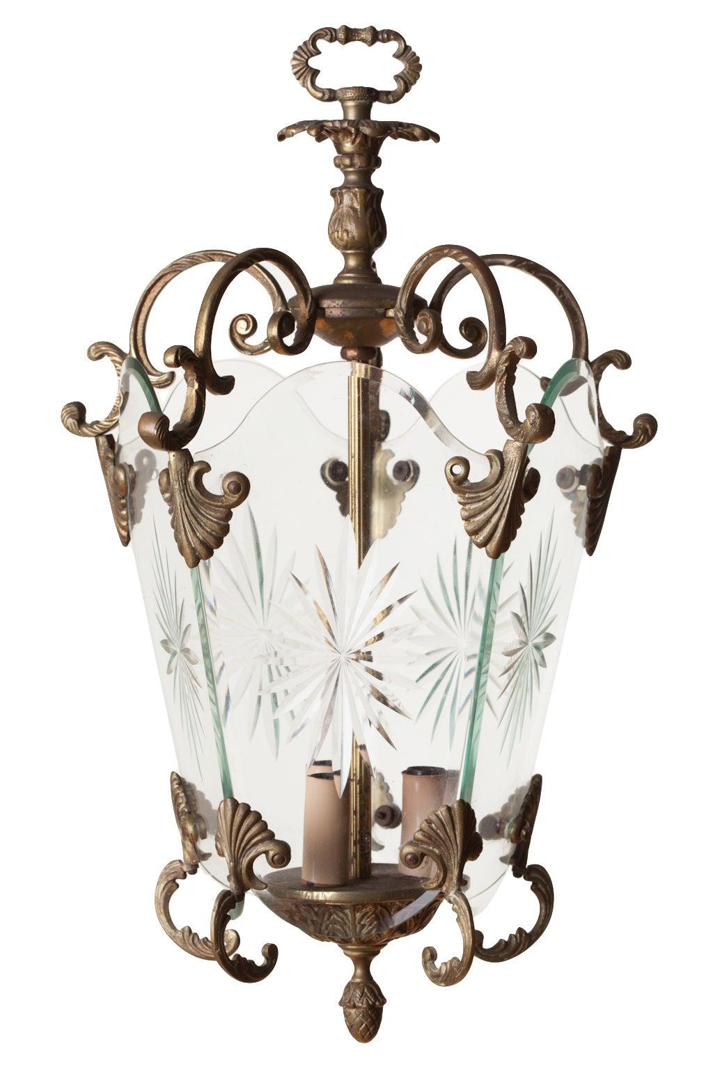 Italian Etched Starburst Glass Lantern
