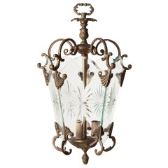 Italian Etched Starburst Glass Lantern