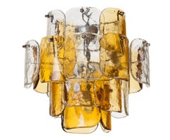 Mazzega Four-Tier Glass Petal Chandelier
