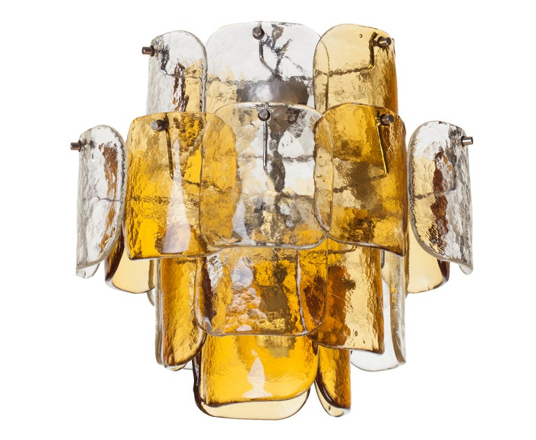 Mazzega Four-Tier Glass Petal Chandelier For Sale