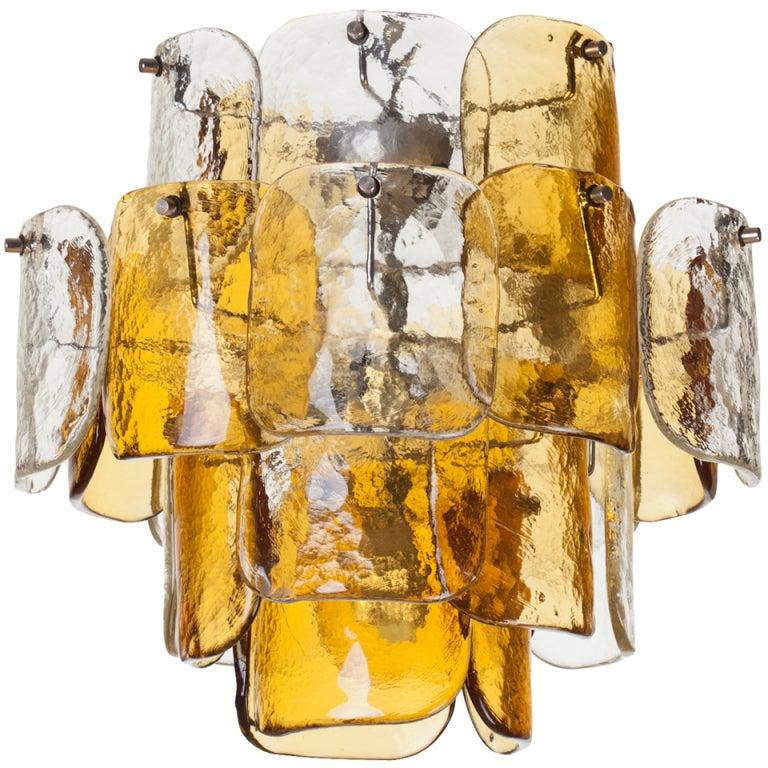 Mazzega Four-Tier Glass Petal Chandelier