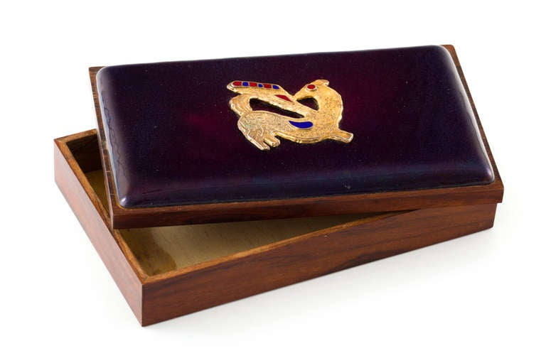 Danish Rosewood Box with Gilt Enamel Detail In Good Condition For Sale In New York, NY