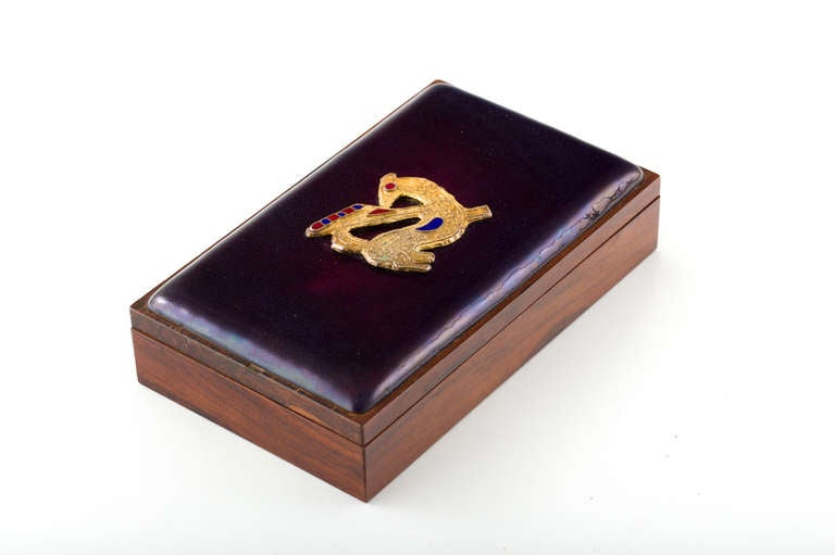 20th Century Danish Rosewood Box with Gilt Enamel Detail For Sale