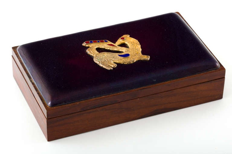 Danish Rosewood Box with Gilt Enamel Detail For Sale 1