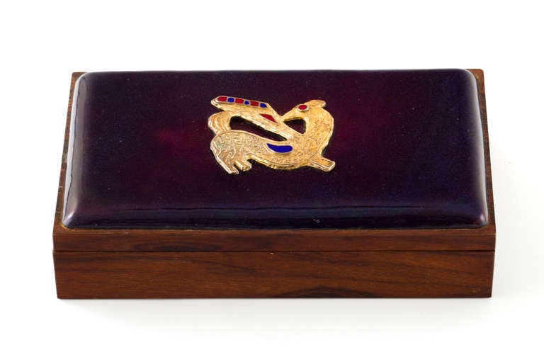 Gorgeous deep purple enameled Danish rosewood jewelry or desk box with gilt enameled detail. Wooden interior and bottom.