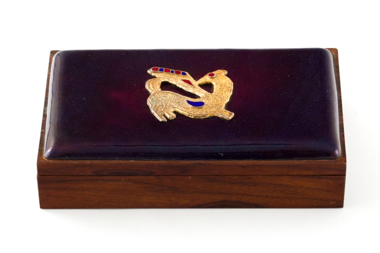 Danish Rosewood Box with Gilt Enamel Detail For Sale