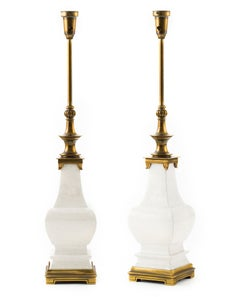 Hollywood Regency White Craquelure Ceramic and Brass Lamps