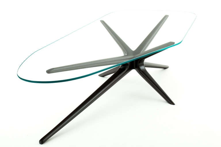 Glass Mahogany Sputnik Coffee Table For Sale