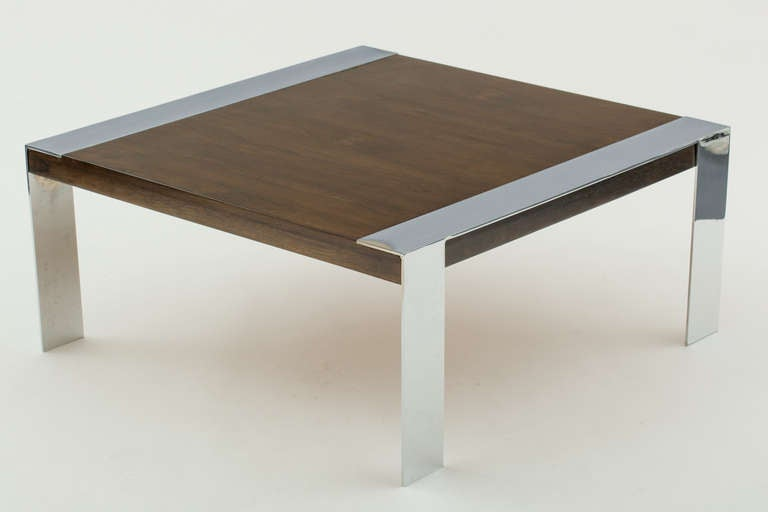 Mid-Century Modern Milo Baughman Style Walnut And Chromed Steel Coffee Table For Sale