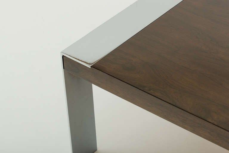Metalwork Milo Baughman Style Walnut And Chromed Steel Coffee Table For Sale