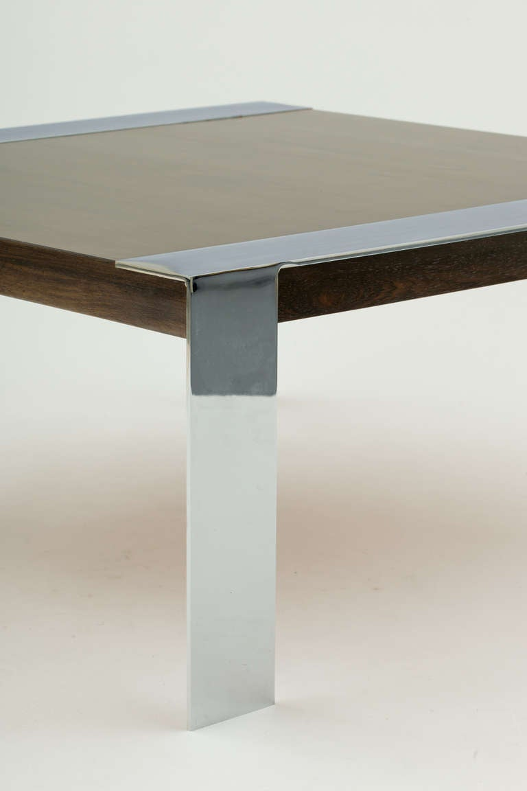 Milo Baughman Style Walnut And Chromed Steel Coffee Table In Fair Condition For Sale In New York, NY