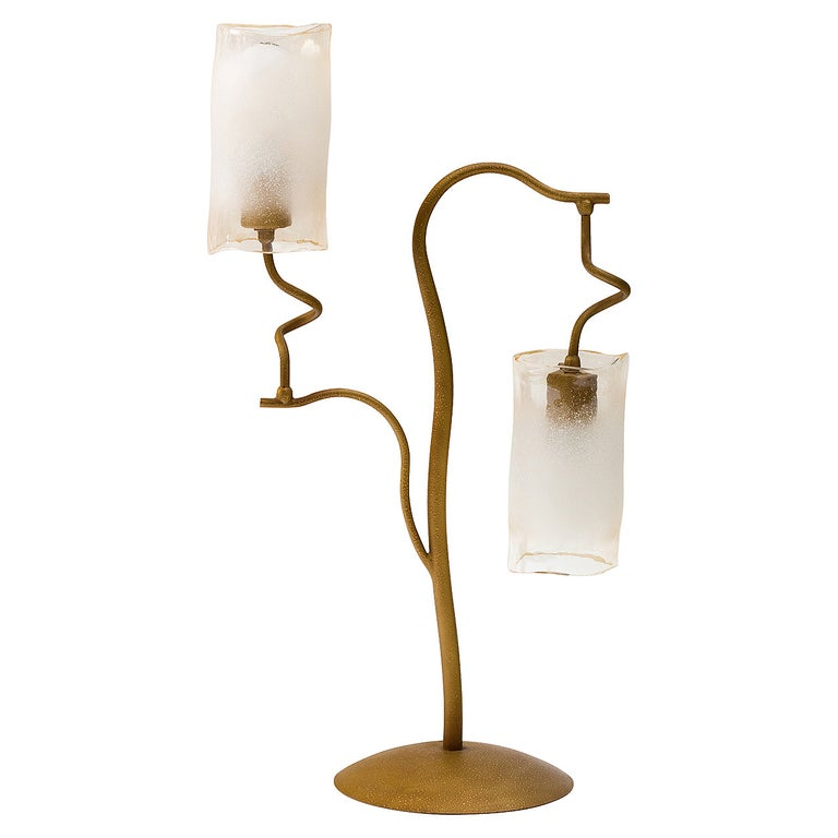 Italian 1980s Double Glass Shade Tree Lamp For Sale