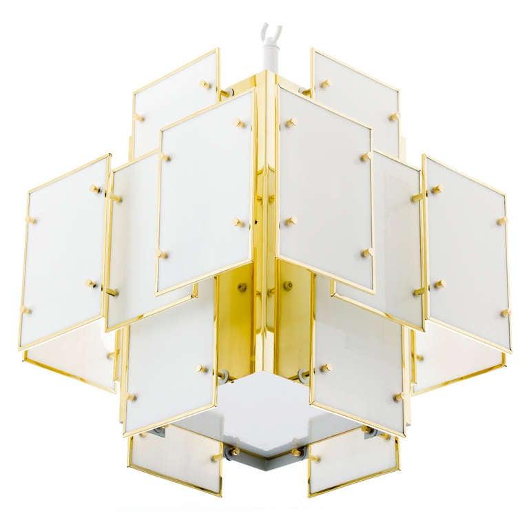 Geometric Milk Glass Panel Chandelier