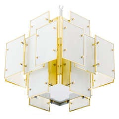 Geometric Milk Glass Panel Chandelier