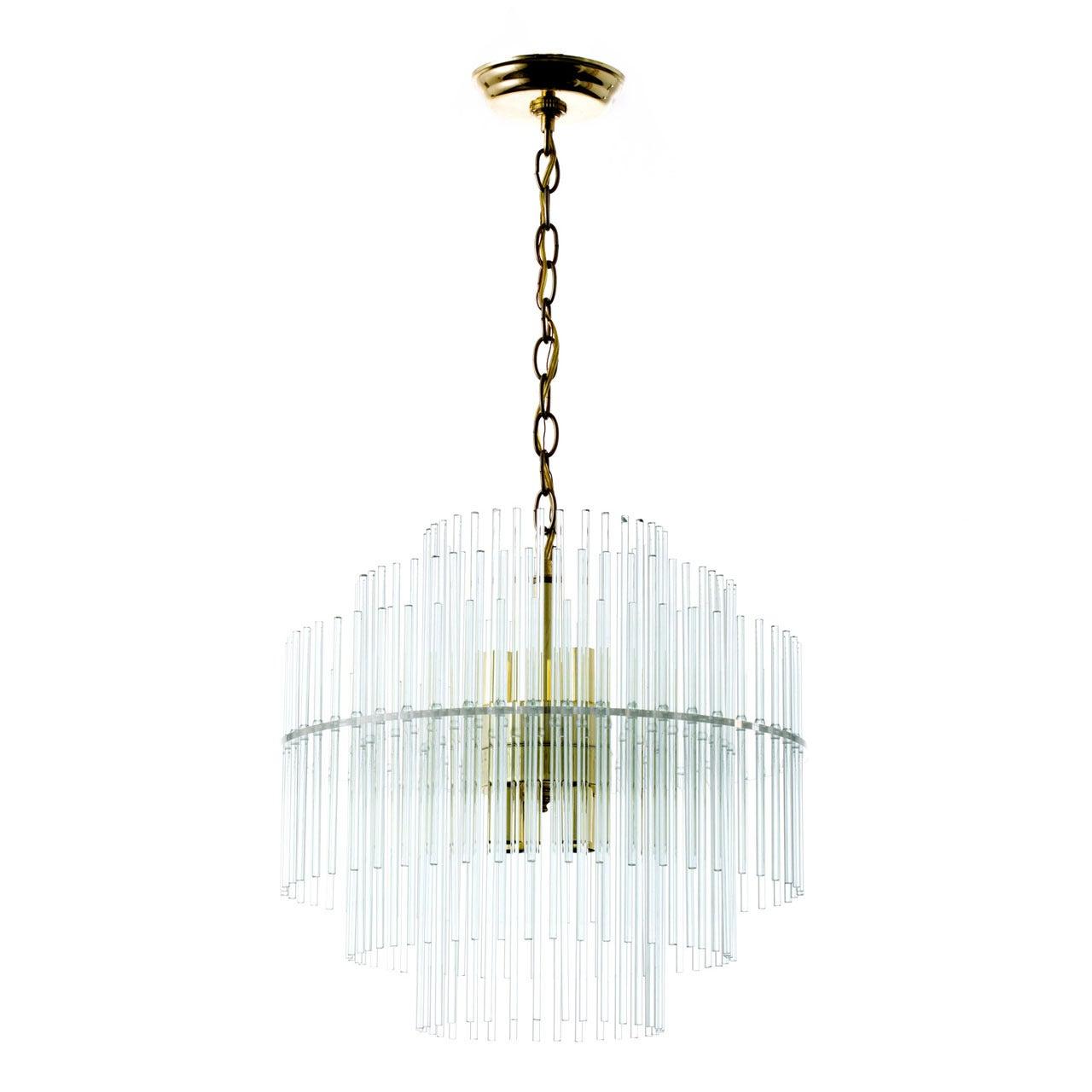 Glass Rod Five-Tier Chandelier Attributed to Gaetano Sciolari