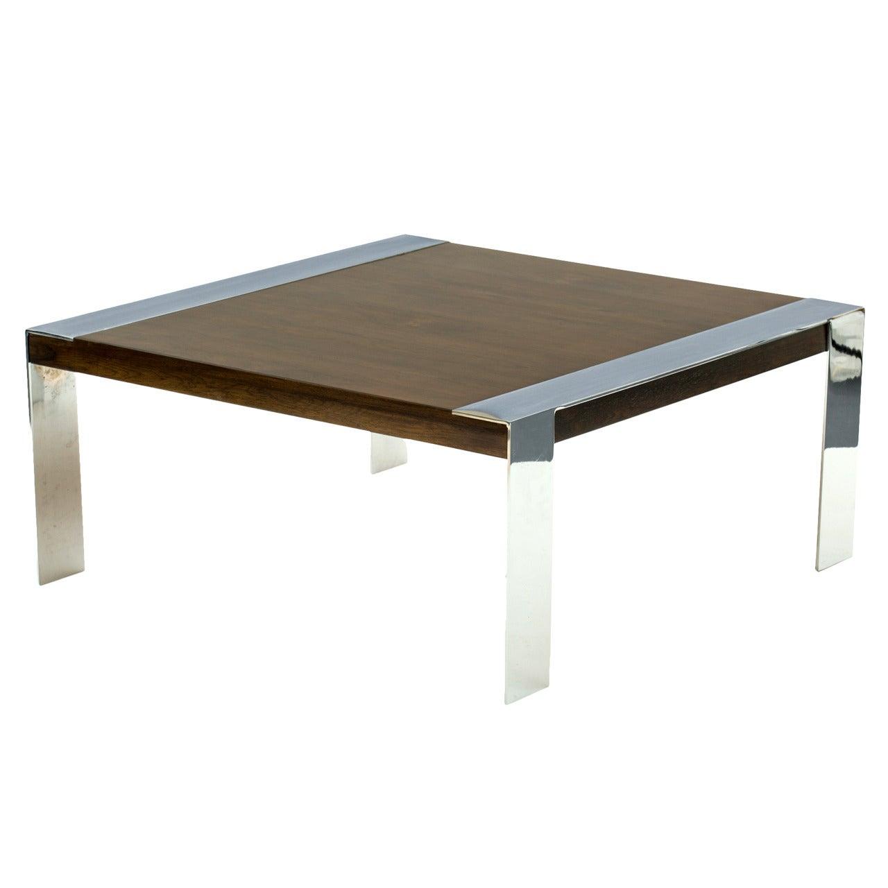Milo Baughman Style Walnut And Chromed Steel Coffee Table