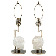 Pair of Nickel and Rock Crystal Skull Lamps