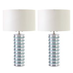 Stacked Aluminum and Glass Column Lamps