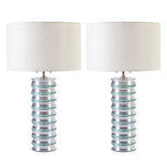 Stacked Aluminum and Glass Disc Column Lamps