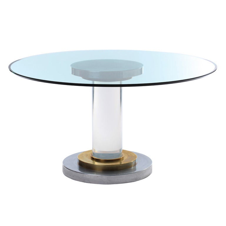 Romeo Rega Lucite Pedestal Table