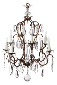 German Neoclassical Crystal Obelisk Chandelier