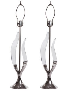 1970s Chrome Tulip Lucite Leaf Lamps by Laurel Lamp Company