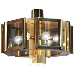 1970s Brass Hexagonal Windowpane Chandelier