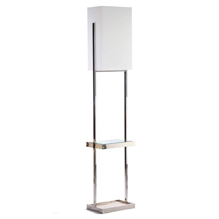Habitat chrome travertine and glass floor lamp at 1stdibs for Habitat chrome floor lamp