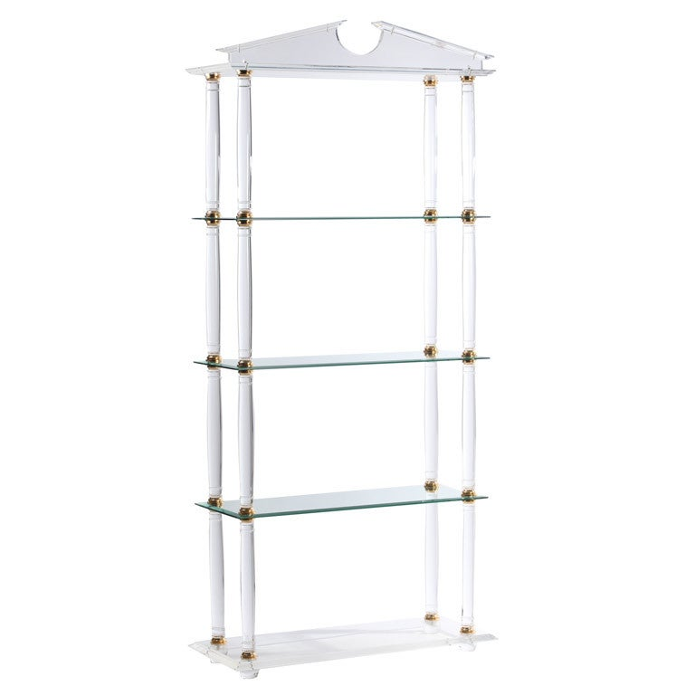 neoclassic modern lucite and brass etagere for sale at 1stdibs. Black Bedroom Furniture Sets. Home Design Ideas