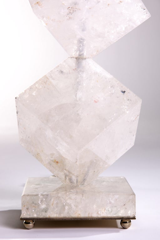 Mid-Century Modern Rock Crystal Cube Lamps For Sale
