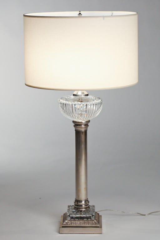 French Nickel And Cut Glass Torchiere Lamps For Sale At