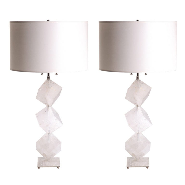 Rock Crystal Cube Lamps