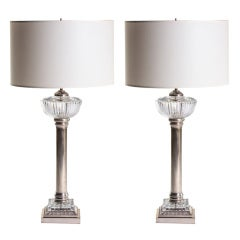 French Nickel and Cut-Glass Torchiere Lamps