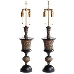 Indian Floral Engraved Patinated Brass Lamps