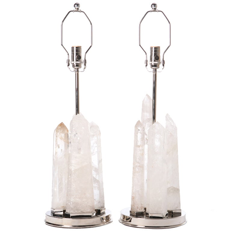 Rock Crystal Obelisk Lamps